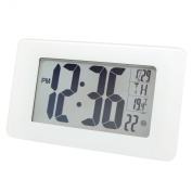MARATHON CL030041WG Atomic Self-setting Self-adjusting Wall Clock w/ Stand & 8 Timezones - White Glass - Batteries Included