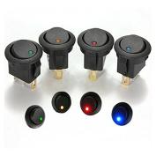 5pcs/lot Led Button Dot Light 12v Car Auto Boat Round Rocker On/off Toggle Switch