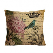 1Croninoutlet shop bird, flower, crown background Cotton Linen Decorative Throw Pillow Cover Cushion Case Pillow Case,one single side print,46cm x 46cm