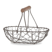 Small Oblong Wire Mesh Fixed Handle Basket - Rust Brown