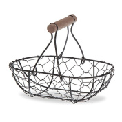 Small Oblong Wire Mesh Fixed Handle Basket - Black
