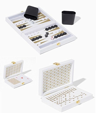 All Decked Out White Lacquer and Gold Backgammon, Card & Dominoes Gift Set - Ideal for Hostess Gift, Birthday, Christmas, Get Well or Just Because