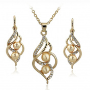 Long Way Fashion Gold/Silver Plated Austrian Crystal Necklace Drop Earrings Set Imitated Pearl Jewellery Set Wedding Jewellery For Women