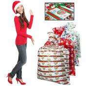 4 Assorted Christmas X-Mas Holiday Themed Gift Sacks Bags Lot 90cm x 120cm Large Bulk