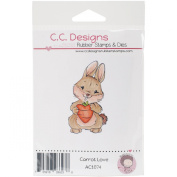 C.C. Designs Animal Crackers Cling Carrot Love Stamp, 6.4cm x 2.5cm