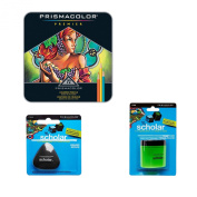 Prismacolor Deluxe Coloured Pencil Drawing Kit - 72 Premier Soft Core Coloured Pencils in a gift tin, Pencil Sharpener, Artists Eraser