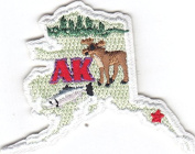 """""""AK"""" - ALASKA STATE SHAPE - Iron On Embroidered Applique Patch"""