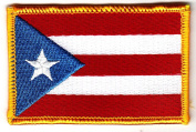 PUERTO RICO FLAG w/GOLD BORDER/Iron On Patch Applique/Puerto Rican Flag
