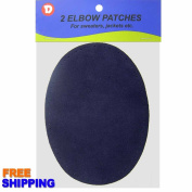 2/pkg Sew-on 12cm x 17cm Navy Blue Suede Cowhide Elbow Patches
