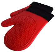 Oven Mitts - Silicone Heat Resistant Gloves - Pot Holders for Kitchen Cooking Baking and BBQ Grilling - Quilted Liner for Extra Protection - Red Ultra Flex Mitt - Durable and Non Slip Grip