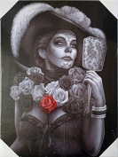 DGA Day of the Dead Great Dame of Death Stretched Wood Frame Canvas Wall Art 30cm x 41cm - Catrina