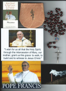 Saint John Paul II Relic Rosary Blessed by Pope Francis at 1st Mass Given by Him at Vatican's Sistine Chapel also Includes Photographs of Mass & of the Conclave the Day Before 50cm L with Reddish Brown Wooden Beads and Papal Crucifix St. JPII Holy Card