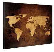 VINTAGE WORLD MAP - Premium Canvas Art Print - 100cm x 80cm Large Abstract Wall Art Deco - Canvas Picture Stretched on Wooden Frame as Modern Gallery Artwork / e7292
