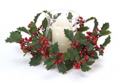 33cm Bright Red Holly Berries Hurricane Glass Christmas Candle Holder