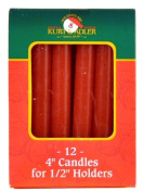 Red 1.3cm Diameter Dripless Christmas Candles, Set of 12