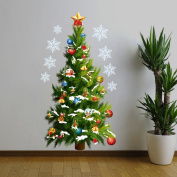 Merry Christmas Home Decor Vinyl Wall Sticker,Christmas Tree and Christmas Gifts Christmas Star Snowflakes Wall Decals