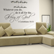 MairGwall Inspirational Quote-Do For The Glory Of God- Inspirational Quote Bible Wall Quote Religious Art Sticker