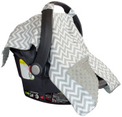 Premium Carseat Canopy Cover with Peekaboo Opening- Large Chevron Print with Grey Dot Minky | Best for Infant Car Seat, Boy or Girl | All Weather | Universal Fit | Baby Shower Gift | Newborn Decor