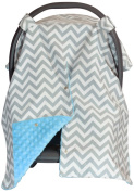 Premium Carseat Canopy Cover with Peekaboo Opening- Large Chevron Print with Blue Dot Minky   Best for Infant Car Seat, Boy or Girl   All Weather   Universal Fit   Baby Shower Gift   Newborn Decor