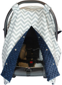 Premium Carseat Canopy Cover with Peekaboo Opening- Large Chevron Print with Navy Dot Minky   Best for Infant Car Seat, Boy or Girl   All Weather   Universal Fit   Baby Shower Gift   Newborn Decor