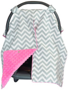 Premium Carseat Canopy Cover with Peekaboo Opening- Large Chevron Print with Hot Pink Dot Minky   Best for Infant Car Seat, Boy or Girl   All Weather   Universal Fit   Baby Shower Gift   Newborn Decor