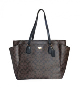 Coach F35414 Large Nappy Tote Travel Bag Coated Canvas Brown Black $495