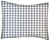 SheetWorld Crib / Toddler Percale Baby Pillow Case - Grey Gingham Cheque - Made In USA
