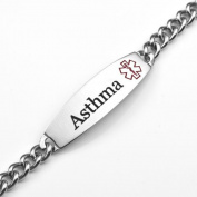 Wide Stainless Steel Asthma Medical ID Bracelet 18cm