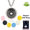 Premium Essential Oil Diffuser Necklace - Sunflower Design - Elegant Hypo-Allergenic 316L Surgical Grade Stainless Steel Locket Pendant Jewellery with free Wipes and 6 Washable Pads