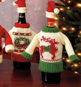 Wine Bottle Cover, Christmas Wine Decoration, Wine Bottle Dress, Holiday Clothing Wine Bottle Cover, SNOWMAN Wine Gift Tag - Set of 2