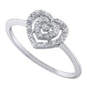 0.04 Carat (ctw) 10K White Gold Round Cut White Diamond Ladies Heart Bridal Promise Ring