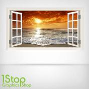 BEACH SUNSET WALL STICKER FULL COLOUR - LOUNGE BEDROOM WINDOW W58 Size