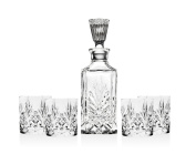 Shannon 5 Piece Crystal Whiskey Bar Set - 4 Dofs & 1 Decanter With Tall Stopper