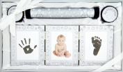 New Baby Unisex Boy Girl Gift 4 Piece Keepsake Set, First Curl Tooth Box, Birth Certificate Holder, Hand and Footprint Prints Kit, Brushed Silver White