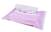Vizaro - Baby Wipes Case Cover/ Tissue Holder - 100% Premium Quality Luxury Cotton - Pink & White Collection - Tested against harmful substances - Made in EU