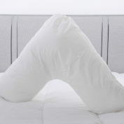 MRSA Resistant Wipe Clean V Shaped Support Pillow with 2 FREE Cases - White