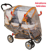 Rain Cover for Double Pushchair with 2 Canopies