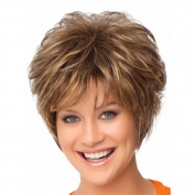 Highdas Fashion Women Gold Short Curly Wigs Synthetic Mix Full Wigs
