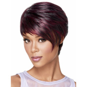 Highdas New Fashion Short Wig Straight Tilted Frisette Synthetic Mix Hair Party Wigs For Women Girls