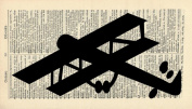 OLD-FASHIONED PLANE ART PRINT - AEROPLANE ART PRINT - aeroplane SILHOUETTE - ARTWORK - VINTAGE Art - Illustration - Black and White Print - GIFT - Vintage Dictionary Art Print - Wall Hanging - Home Décor - Housewares - Book Print - 282B