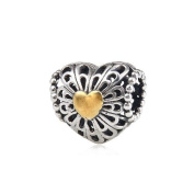 Antique Sterling Silver European Gold Plated Heart Charms Beads for Bracelet