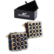 Men's Novelty Edge Studded Square Cufflinks with Luxury Gift Box