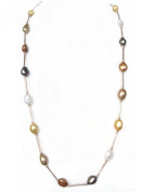 """Gold Plated Tube 35"""" 90cm 12mm Multicolour Cultured Natural Freshwater Baroque Drop Pearl Chain Necklace Jewellery Gift Present"""