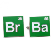 Breaking Bad Green and White Cufflinks. Periodic Table. Gift Box