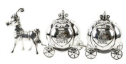 Silver plated new baby christening first curl and tooth trinket cinderella horse and carriage - Gift box present