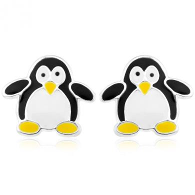 Ornami Sterling Silver and Enamel Penguin Earrings