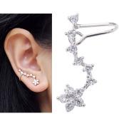 ANDI ROSE Fashion Jewellery Women 925 Sterling Silver Zircons Ear Hook Plum Flower Wrap Cuff Earrings