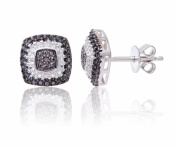 Theia Sterling Silver Black and White Diamond Designed Square Shaped Stud Earrings