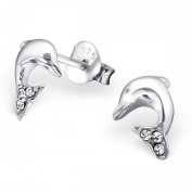 Sterling Silver Crystal Dolphin Earrings 925 Stamped