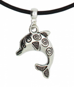 Jumping dolphin sea ocean on Premium leather choker / necklace (chocker) Made in UK